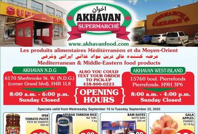 Akhavan Supermarche Flyer September 16 to 22