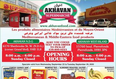 Akhavan Supermarche Flyer September 23 to 29