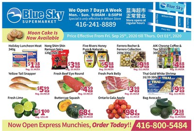 Blue Sky Supermarket (North York) Flyer September 25 to October 1