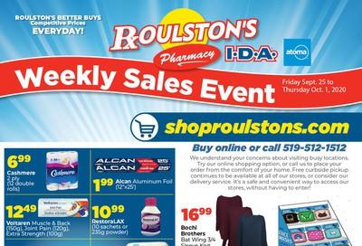 Roulston's Pharmacy Flyer September 25 to October 1