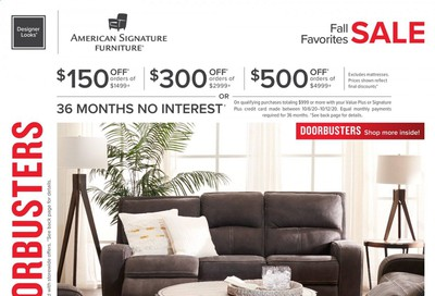 American Signature Furniture Weekly Ad Flyer October 6 to October 12