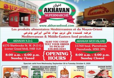 Akhavan Supermarche Flyer September 30 to October 6
