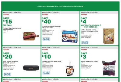 Costco (QC) Weekly Savings December 9 to 24
