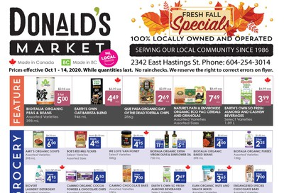 Donald's Market Flyer October 1 to 14