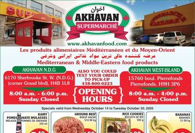 Akhavan Supermarche Flyer October 14 to 20