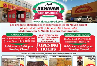 Akhavan Supermarche Flyer October 21 to 27