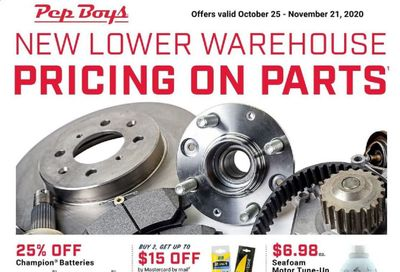 Pep Boys Weekly Ad Flyer October 25 to November 21