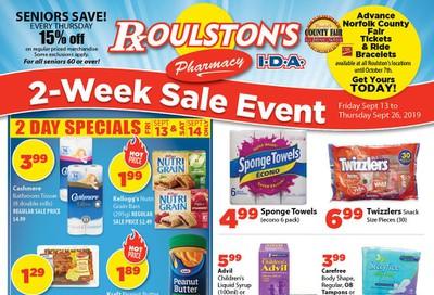 Roulston's Pharmacy Flyer September 13 to 26