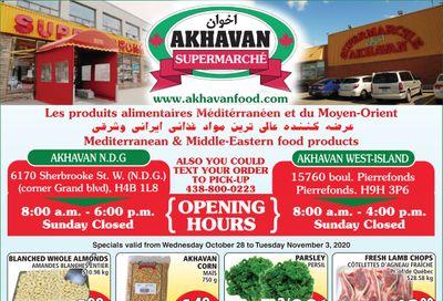 Akhavan Supermarche Flyer October 28 to November 3