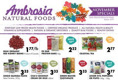 Ambrosia Natural Foods Flyer November 1 to 30