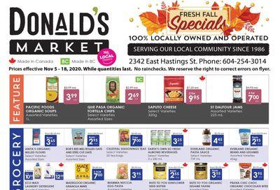 Donald's Market Flyer November 5 to 18