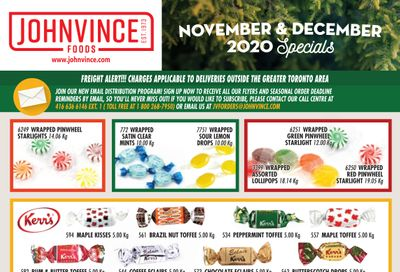 Johnvince Foods Wholesale Specials Flyer November 1 to December 31