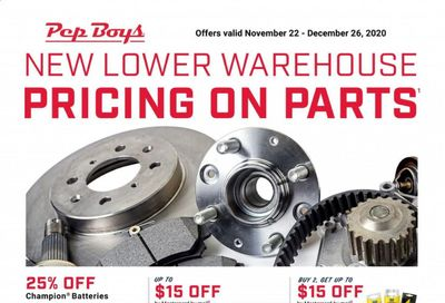Pep Boys Weekly Ad Flyer November 22 to December 26