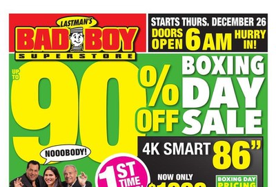 Lastman's Bad Boy Superstore 2019 Boxing Day Sale Flyer December 25 to January 15