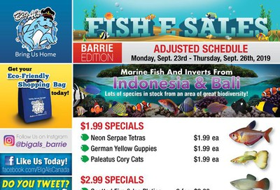 Big Al's (Barrie) Weekly Specials September 23 to 26