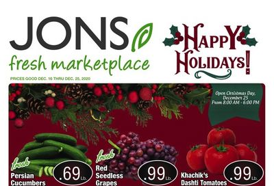 JONS Fresh Marketplace Christmas Holiday Weekly Ad Flyer December 16 to December 25, 2020