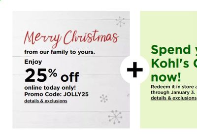 Kohl's Weekly Ad Flyer December 25 to January 3