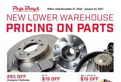 Pep Boys Weekly Ad Flyer December 27 to January 23