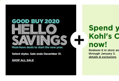 Kohl's Weekly Ad Flyer December 28 to December 31