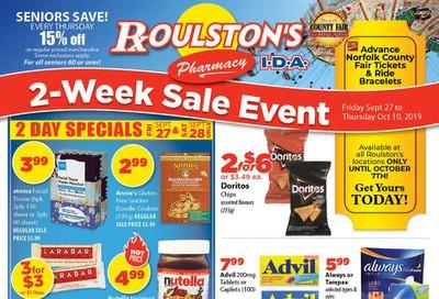 Roulston's Pharmacy Flyer September 27 to October 10