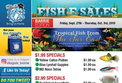Big Al's (Barrie) Weekly Specials September 27 to October 3