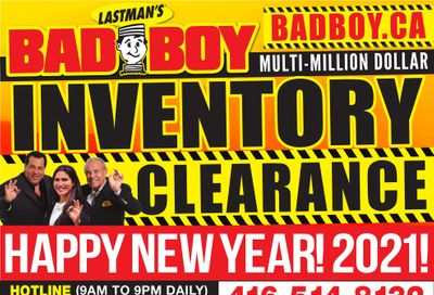Lastman's Bad Boy Superstore Flyer January 14 to February 7