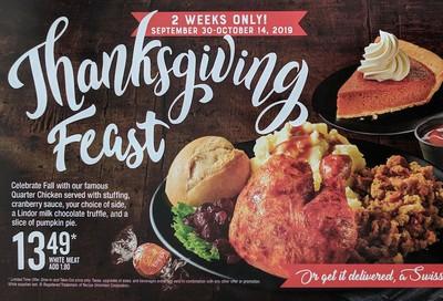Swiss Chalet Canada Thanksgiving Feast for $13.49, September 30 - October 14