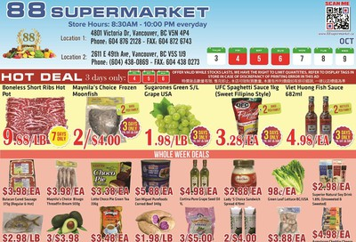 88 Supermarket Flyer October 3 to 9