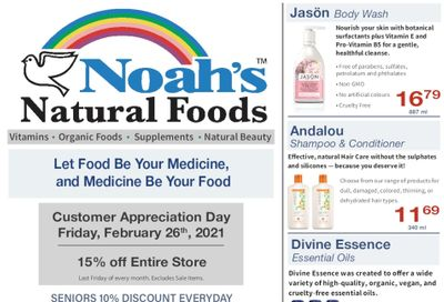 Noah's Natural Foods Flyer February 1 to 28