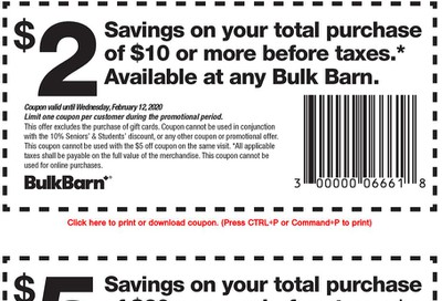 Bulk Barn Coupons: Save $2 - $5, January 30 - February 12