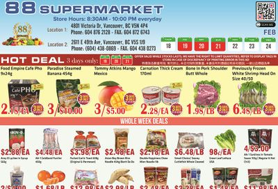88 Supermarket Flyer February 18 to 24