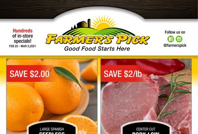 Farmer's Pick Flyer February 25 to March 3