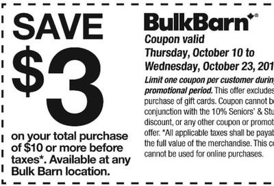 Bulk Barn Canada Coupon: Save $3 off $10 Purchase, October 10 - 23