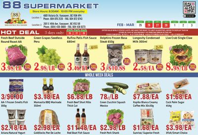 88 Supermarket Flyer February 25 to March 3