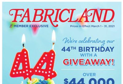Fabricland (West) Flyer March 1 to 31