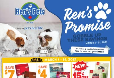 Ren's Pets Depot Monthly Flyer March 1 to 31