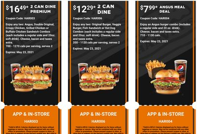 Harvey's Canada Coupons (NFLD): until May 23