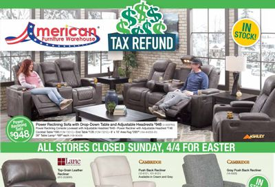American Furniture Warehouse Weekly Ad Flyer April 4 to April 10