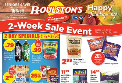 Roulston's Pharmacy Flyer October 11 to 24