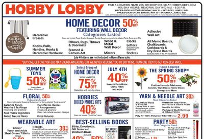 Hobby Lobby Weekly Ad Flyer May 30 to June 5