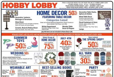 Hobby Lobby Weekly Ad Flyer June 6 to June 12