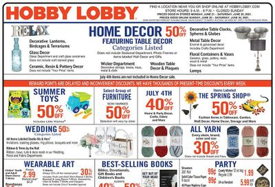 Hobby Lobby Weekly Ad Flyer June 20 to June 26