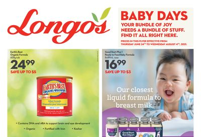 Longo's Baby Days Flyer June 24 to August 4