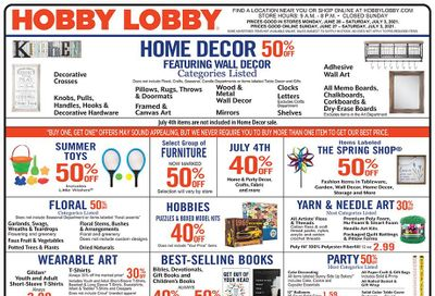 Hobby Lobby Weekly Ad Flyer June 27 to July 3