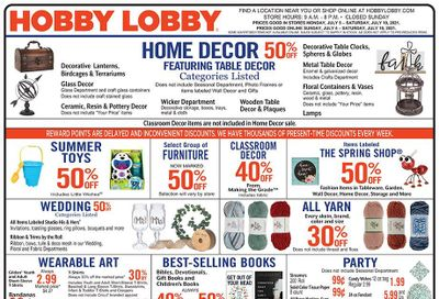 Hobby Lobby Weekly Ad Flyer July 4 to July 10