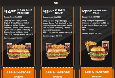Harvey's Canada Coupons (ON): until August 22