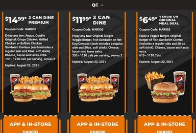 Harvey's Canada Coupons (QC): until August 22