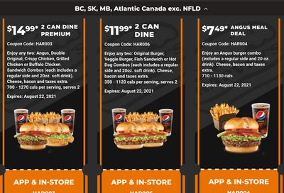 Harvey's Canada Coupons (BC, SK, MB, Atlantic Canada exc. NFLD): until August 22