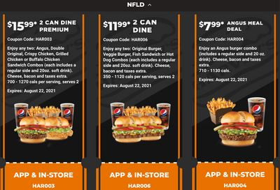 Harvey's Canada Coupons (NFLD): until August 22