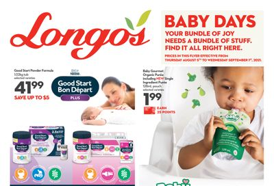 Longo's Baby Days Flyer August 5 to September 1